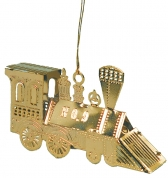 "Brass Train Ornament - 2 3/4"" Long Hand Polished"