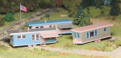 45612 Trailer Park with 3 Trailers and Flag Pole with Flag