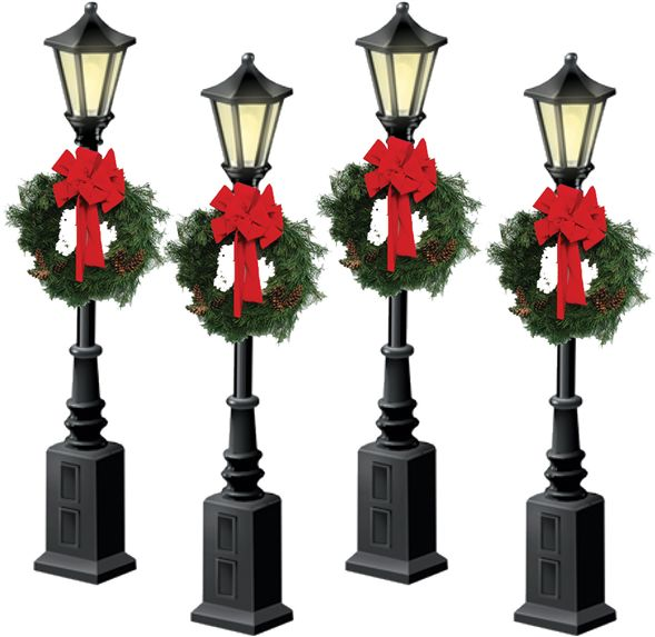 37907 Christmas Street Lamps w/ Wreaths