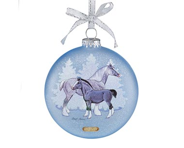 700821 2017 Artist Signature Glass Ornament-Draft Horses