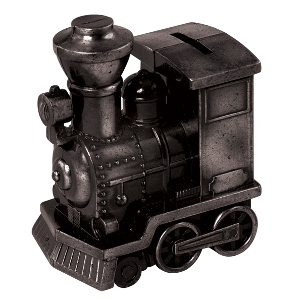 "Black Metal Train Engine Bank 5"" w/ Rubber Plug Stopper"