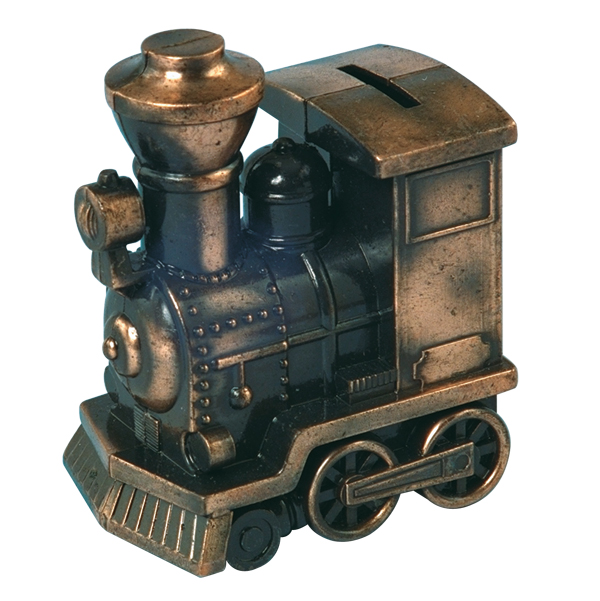 "Bronze Metal Train Engine Bank 5"" w/ Rubber Plug Stopper"
