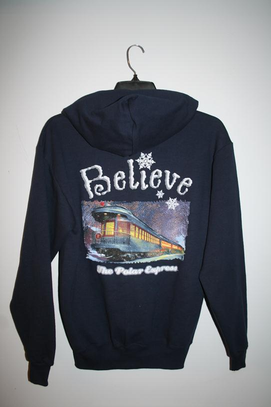 "1010AM Polar Express ""Believe"" Hooded Sweatshirt - Navy Blue"