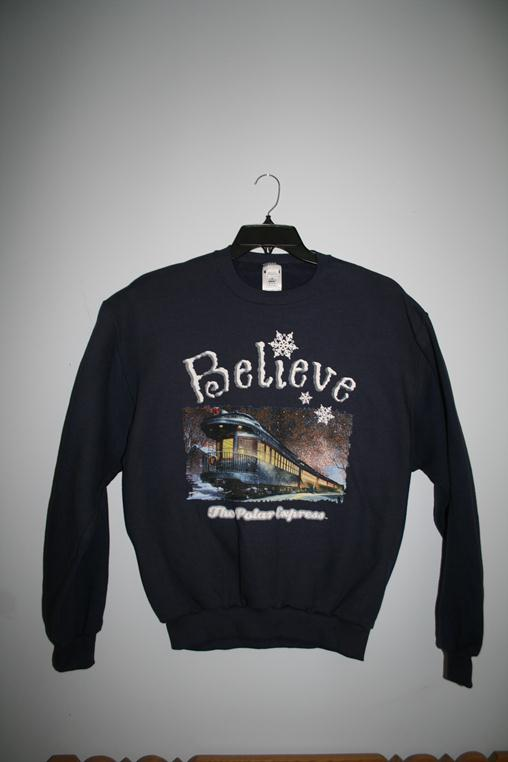 "1012YL Polar Express ""Believe"" Sweatshirt - Navy"