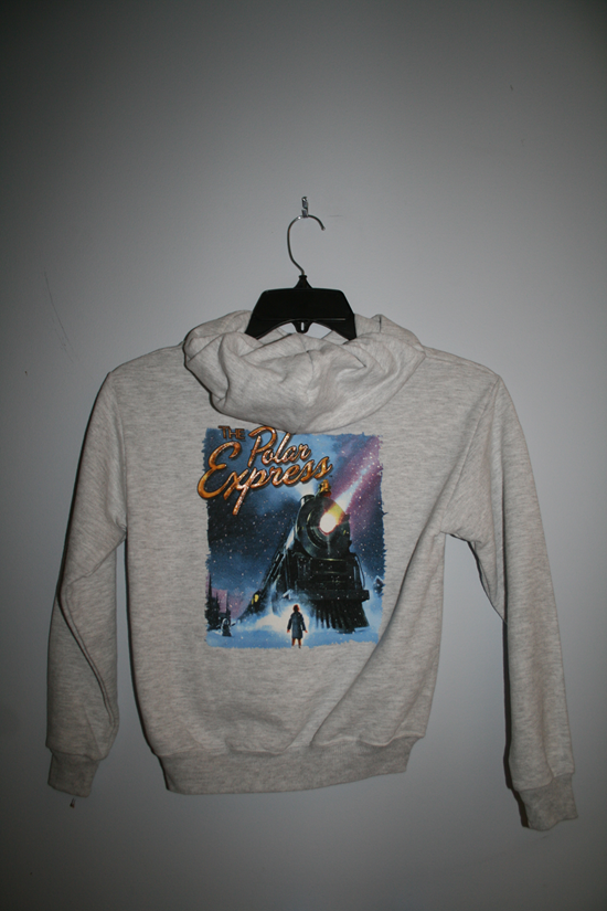 "1017YL Polar Express ""Poster"" Hooded Sweatshirt - Light Gray"