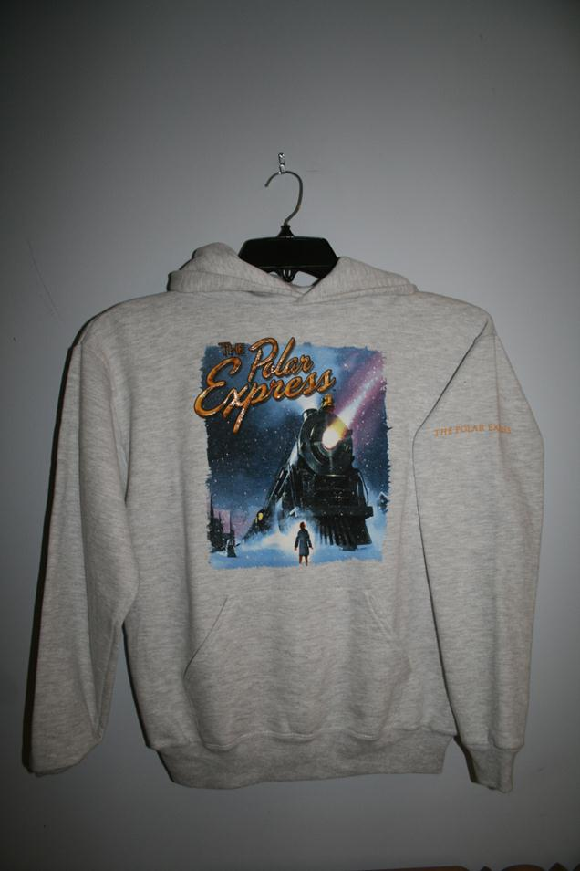 "1018YL Polar Express ""Poster"" Hooded Sweatshirt - Light Gray"