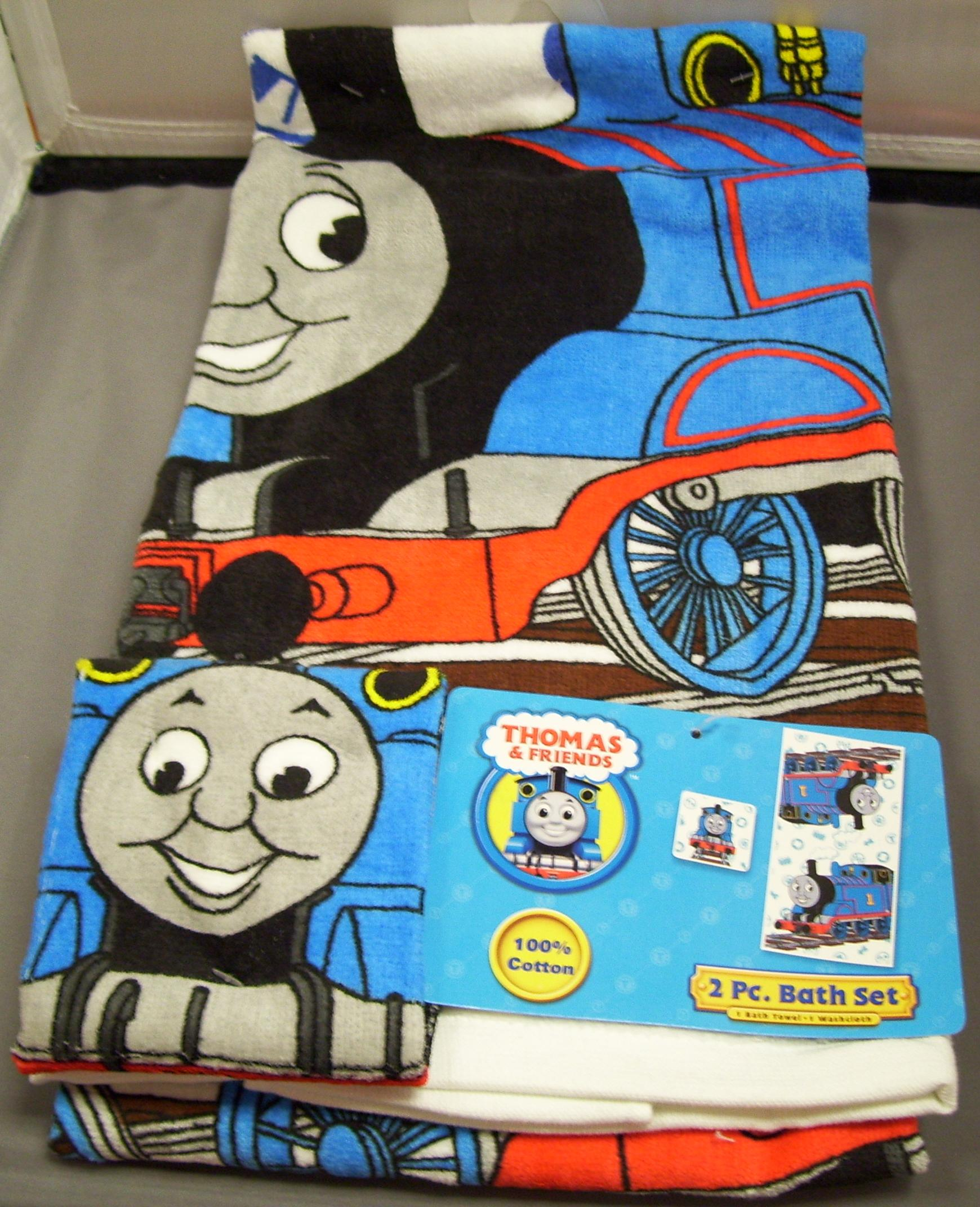 Towels bath time america39s best train toy hobby shop for Thomas the train bathroom set