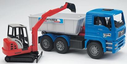 02746 MAN Tipping container truck with Schaeff mini excavator D