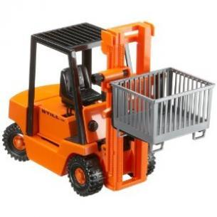 02510 Orange Forklift Truck with Palette 1:16 Scale D
