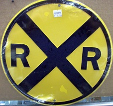 "Railroad Crossing Sign- 12"" Round Metal"