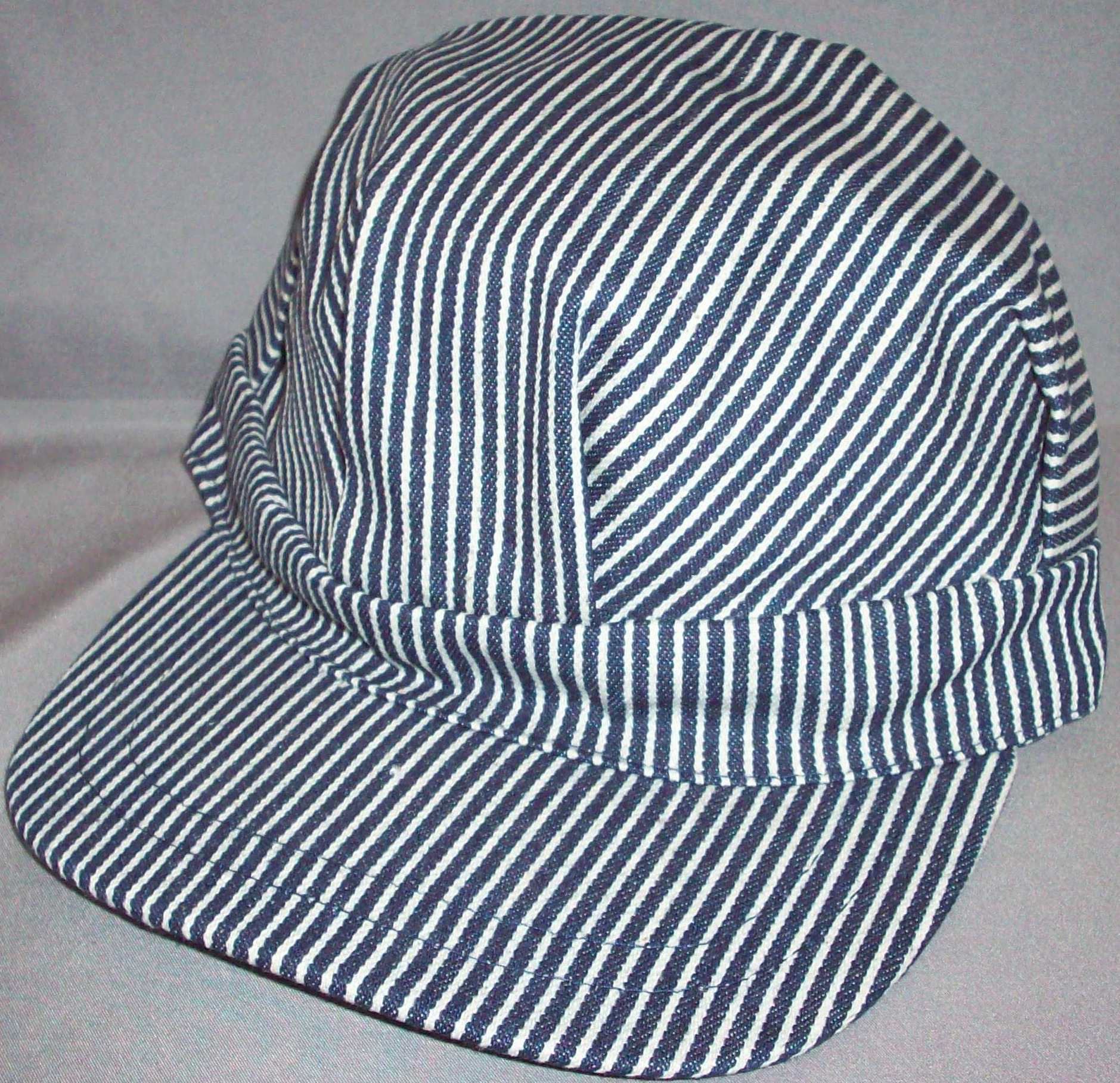 Large Stripe Blue Engineer Hat- Size- Adult Adjustable