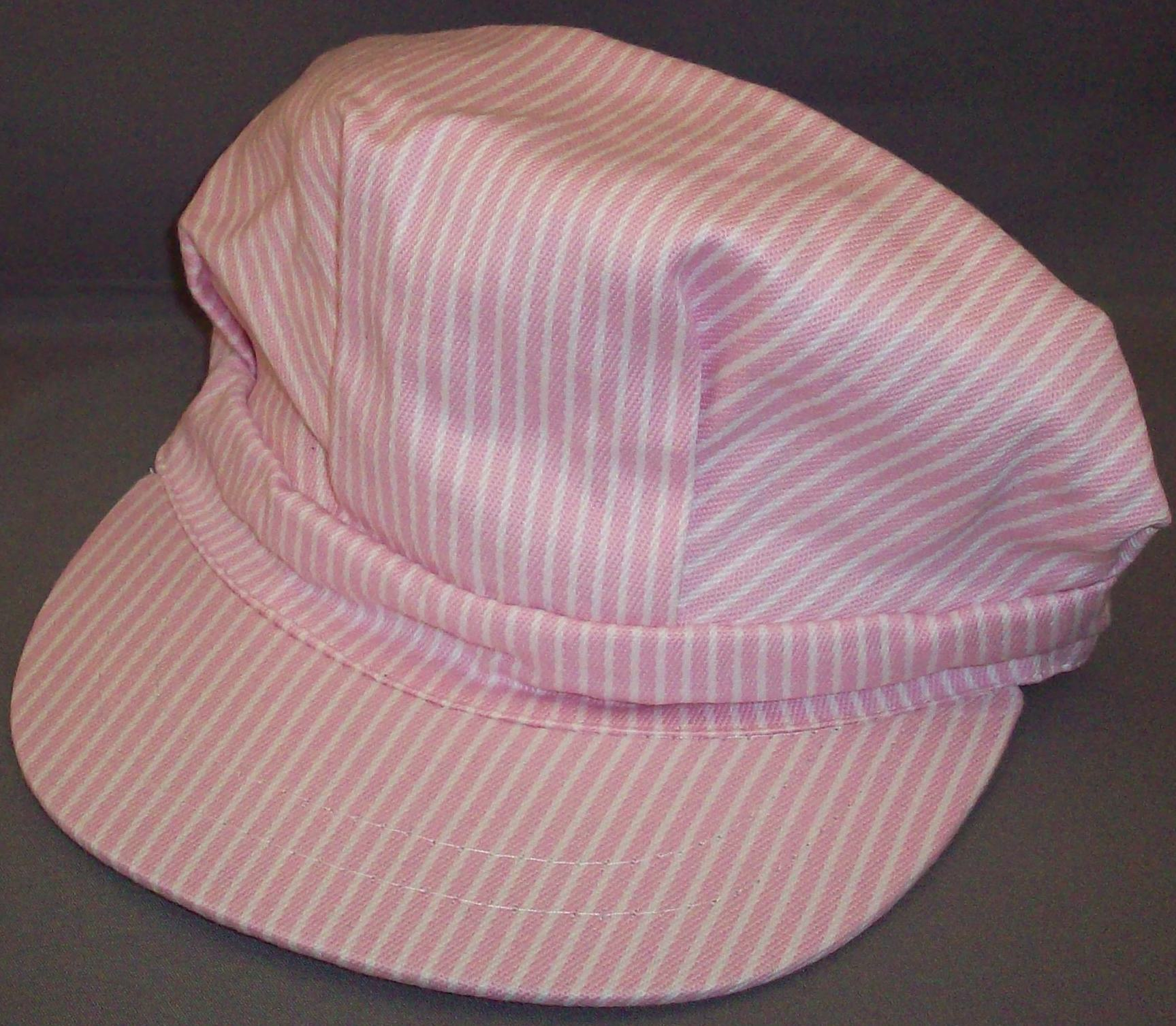 Pink Stripe Engineer Hat- Size- Large