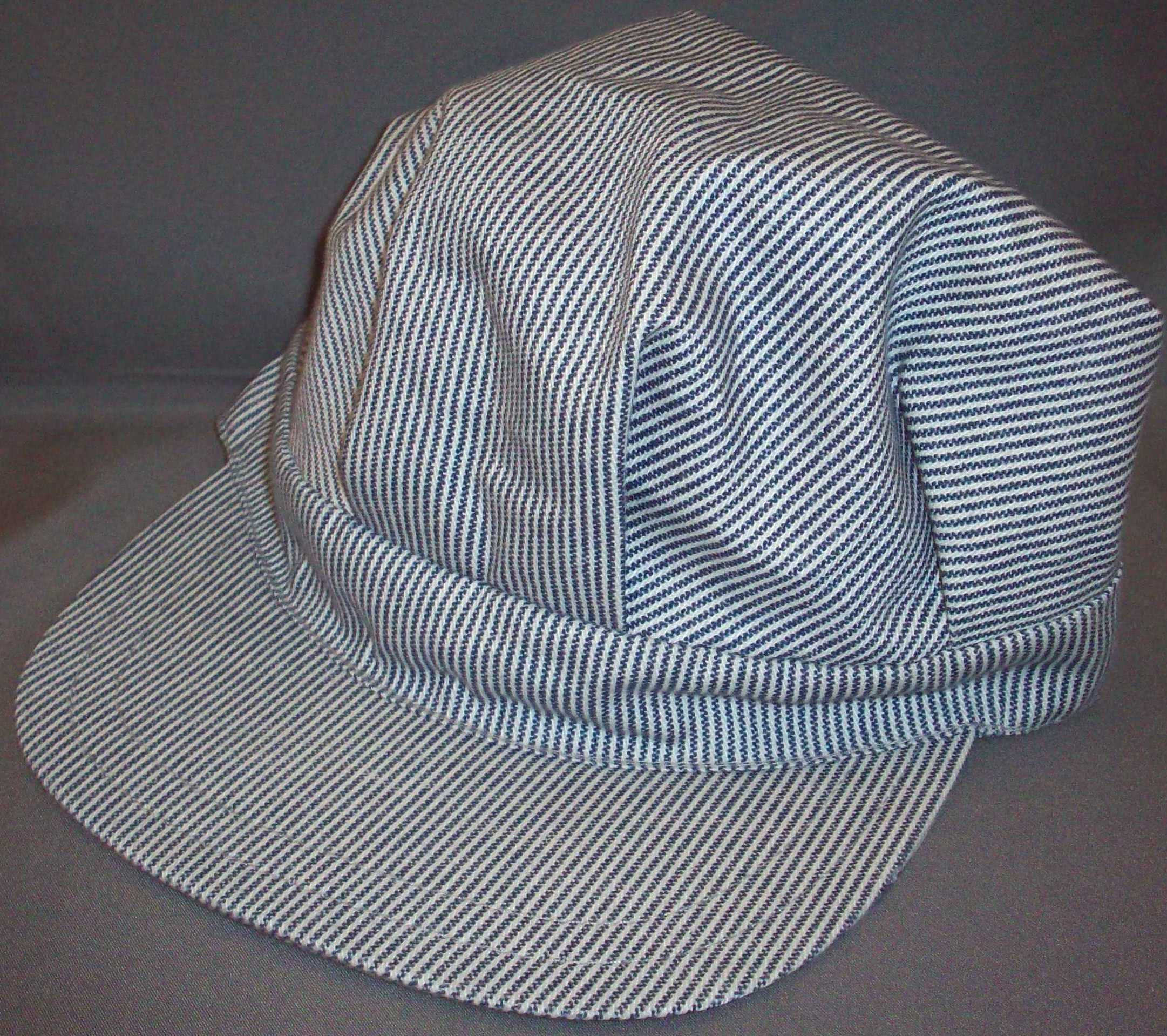 Small Stripe Blue Engineer Hat- - Size Large